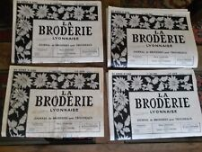 4 OLD NEWSPAPERS LA BRODERIE LYONNAISE 1962 VINTAGE EMBROIDERY PATTERNS
