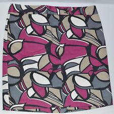 Ann Taylor Women's A-Line Skirt Purple Gray Stretch Geometric Cotton Blend  12P