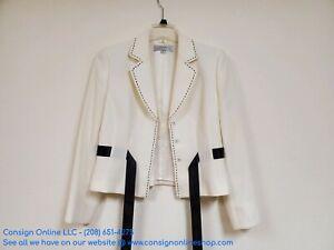 Tahari Arthur S. Levine Blazer Jacket Off-White Black Embroidery Size 10 P1900