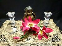 """1940's Val St. Lambert Crystal """"Gardenia Collection"""" Pair Of Candlesticks - 5"""""""