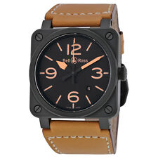 Bell and Ross Heritage Ceramic Black Dial Tan Leather Mens Watch