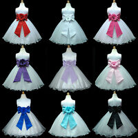 UKD57 White Baby Pageant Wedding Flower Girls Dress 1,2,3,4,5,6,7,8,9,10,11-13