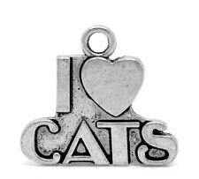 5 antique silver I Love Cats charms / pendentifs ~ 23 mm x 21mm bijoux ~ ~ trousseau (6g)