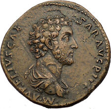 MARCUS AURELIUS 161AD Sestertius NGC Certified XF Authentic Ancient Roman Coin