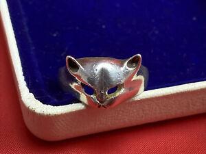 stunning Vintage Silver Cat Ring  current finger size O