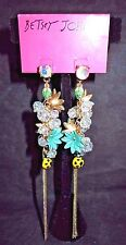 """BETSEY JOHNSON Fashion Earrings 5"""" LONG Flowers Crystals """"Thaw"""" Gorgeous BlueNEW"""