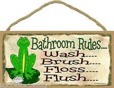"Bathroom Rules Wash Brush Floss Flush Frog Sign Plaque Bath Decor 5""x10"""