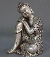 """5"""" Tibetan Buddhism copper Silver plating Seat Sleep Sakyamuni Buddha Statue"""