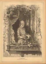 Pretty German Girl, Watering Her Window Garden, Vintage 1882 Antique Art Print