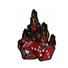 Flaming Dice Embroidered Iron On Patch - Skull Craps 133-N