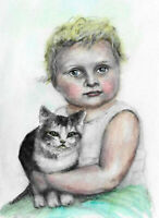Cat Girl portrait Aceo original child kids painting watercolor art card sign