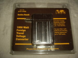 NIP Radio Shack 1000 Watt Foreign Travel Voltage Converter Cat. No. 273-1402