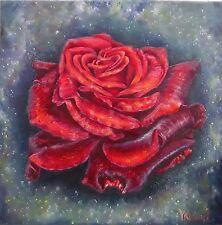 "ARTISTA:ANASTASIA WORON,""Retrato de una rosa"",ORIGINAL,FIRMADO POR AUTOR  ,OLEO"