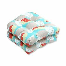 New listing Pillow Perfect Outdoor/Indoor Avia Surf Wicker Seat Cushion Set of 2