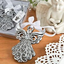 1 Silver Angel Shimmering Ornament Antique Finish Christmas Wedding Favor Gift