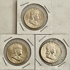 3- 1951-P,D,S- U.S. FRANKLIN SILVER HALF DOLLARS, SEE OTHER COINS, GOLD &JEWELRY