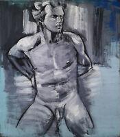 Heiko Pippig *1951 Leipziger Schule: Adonis Männerakt Acryl-Gemälde 165 x 145 cm