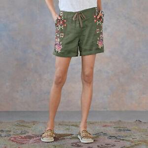Driftwood Trevor floral embroidered Sundance Catalog green shorts M L NWT