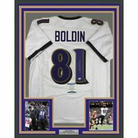 FRAMED Autographed/Signed ANQUAN BOLDIN 33x42 Baltimore White Jersey Beckett COA