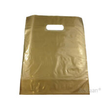 """200 Gold Plastic Carrier Bags 10""""x12""""+4"""" Gift  Party Shop Carry Patch Handles"""