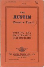 Austin Eight 8 & Ten 10 original Handbook Postwar Cars 1958 Pub. No. 97H 801/F