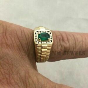 Men's 1.20Ct Green Emerald Engagement Wedding Band Ring 14K Yellow Gold Finish