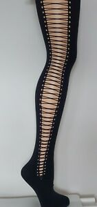 1x River Island VARIOUS BLACK KNIT SHEER OPAQUE PATTERN TIGHTS S M L, One Size