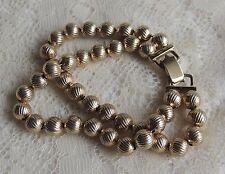 """Vintage Elegant BERGERE Ribbed Gold Beaded Double Strand Link Bracelet 7 1/2"""""""