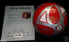 USA BRANDI CHASTAIN FOUDY LILLY VENTURINI Signed Red Soccer Ball PSA/DNA Auto