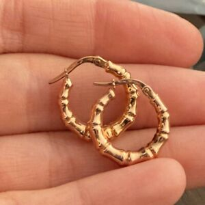 NEW 9ct Rose Gold Hoop Earrings Hallmarked Bamboo Pattern 375 Made in Italy 9K
