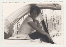 Pretty Woman Lady Sitting in Car Trunk Unusual Abstract Snapshot VTG Old Photo