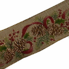 Traditional Style Wired Hessian Xmas Christmas Ribbon 60mm Wide Fir Cone 3 M