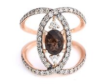 LeVian Ring Smoky Quartz Chocolate Vanilla Diamond Criss Cross 14k Rose Gold NEW