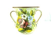 Antique Castelli Italy Pottery Hand Painted Floral Handled Vase-a second SC