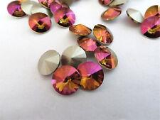 6 Crystal Mahogany Foiled Swarovski Crystal Rivoli Stone 1122 39ss 8mm