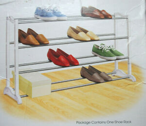 "Shoe Rack 20-Pair Lynk Steel & Polymer Construction Approx. 36""x10""x22""  M3771"