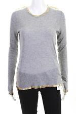Zadig & Voltaire Women's Crew Neck Long Sleeve Top Gray Size Medium