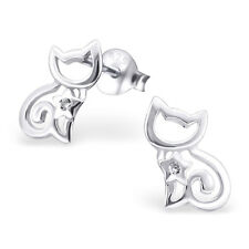 925 Sterling Silver Cat with Crystal Cubic Zirconia Stud Earrings