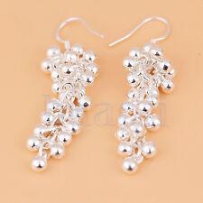 Beautiful Pair Silver Plated Pearl Beads Grape Hook Earrings MA
