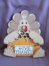 "Wood Turkey Hanging Plaque ""Give Thanks"" Primitive Thanksgiving Wall Door Decor"