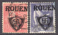 FRANCE LOCAL ROUEN LIBERATION OVERPRINT CDS F/VF SOUND x2 #1