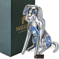 Chrome Plated Silver Dog with Blue Crystals by Matashi