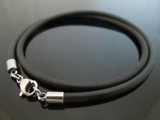 3mm Black Silicone Rubber & Stainless Steel Necklace Or Bracelet Choose Length