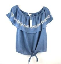 7ff574e6d86 Charming Charlie NEW Womens Size Small Chambray Denim Top w Embroidery  detail