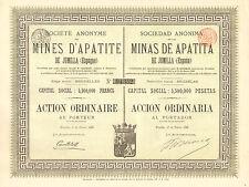 SA de las Minas de Apatita de Jumilla (Espana), accion,  Bruselas, 1888