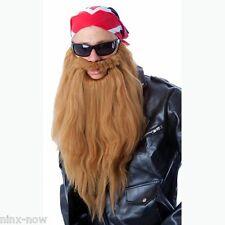 ZZ Top Biker Long Beard & Moustache Set Fancy dress Costume Light Brown
