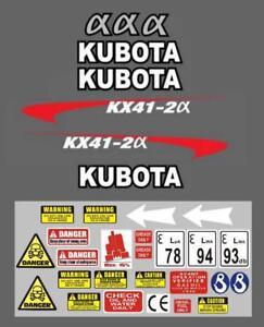 Decal Sticker set. KUBOTA KX41-2 Mini Digger Pelle Bagger Excavator