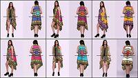 Vintage Dashik Imprimé Cardigan Long Kimono Chemise sans Manche Coton Chemisier