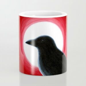 Coffee Mug 11oz or 15oz Bird 62 Crow Moon Red black art L.Dumas