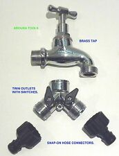 BRASS TAP WITH TWIN SWITCHED OUTLETS & SNAP ON HOSE CONNECTORS- NEW